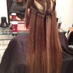 adding of FE Tape Extensions and i-tips to create highlights