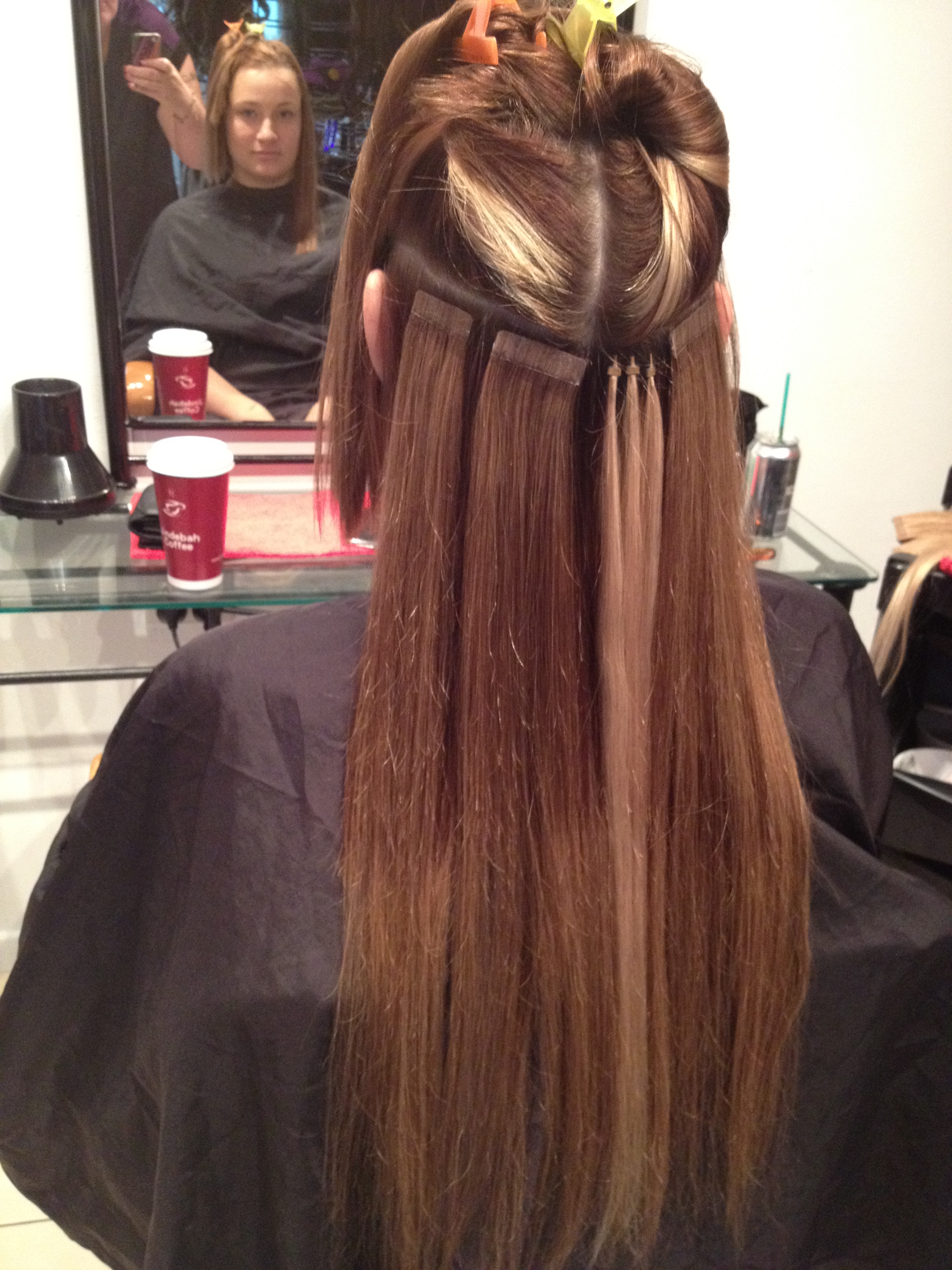 Adding Of Fe Tape Extensions And I Tips To Create Highlights